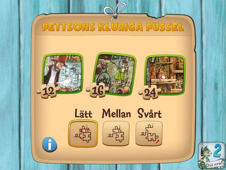 Pettsons Pussel är en app med 6 olika pussel. ett med 12 bitar, två med 16 bitar och 3 med 24 bitar. I appens inställningar kan man ändra om hur mycket hjälp man skall få av appen med att lägga sitt pussel. Detta gör att både stora och små barn kan uppskatta den.