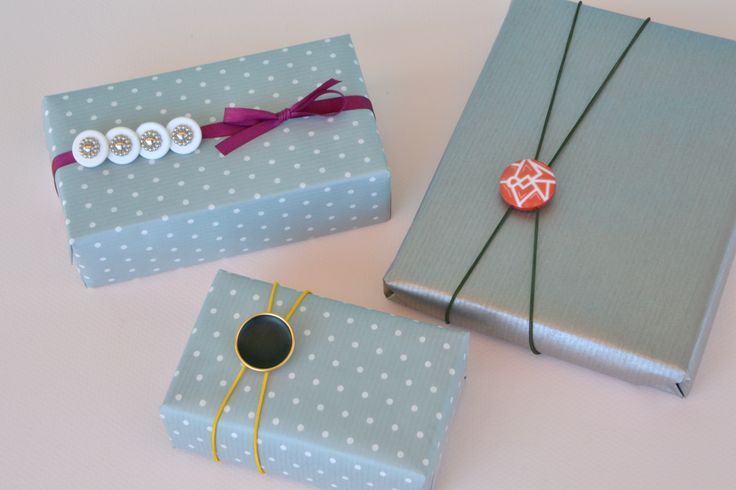 Gift wrap with buttons.