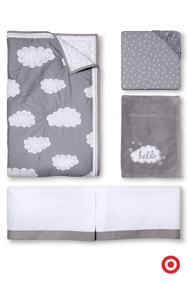 ease baby into naps and bedtime with comfy soft gray bedding the cute cloud and star graphics. Black Bedroom Furniture Sets. Home Design Ideas