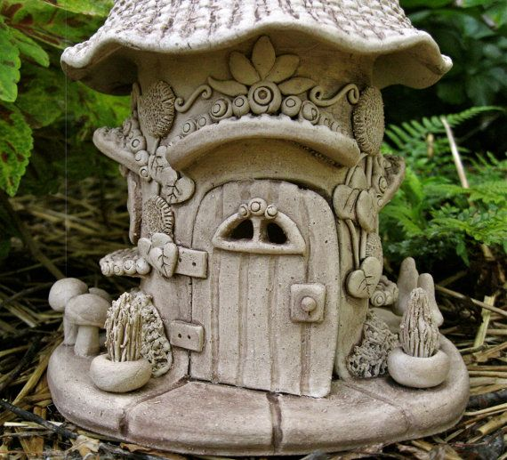 Handbuilt Ceramic Gnome House Garden Decoration by ClaySoul, $135.00