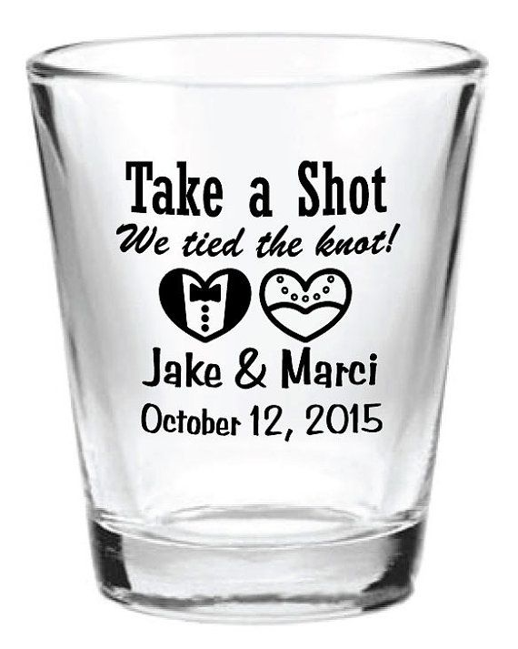 144 NEW Personalized 1.5oz Wedding Favors Glass Shot Glasses 2015 Custom Bride & Groom Hearts