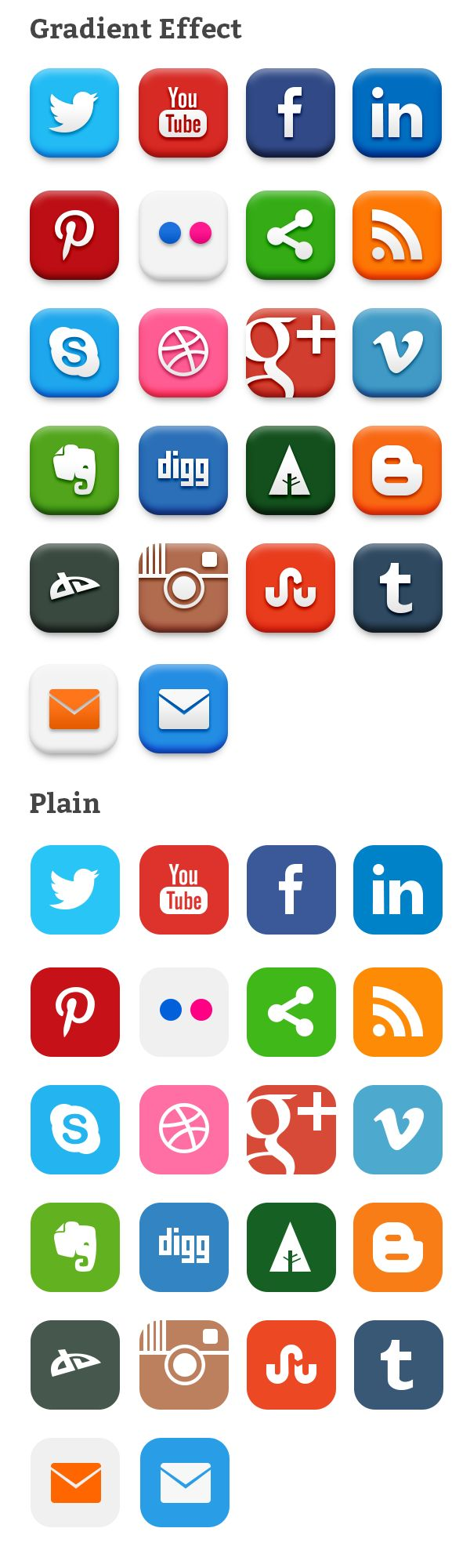20 Popular Social Media Icons (PSD & PNG) | Source : GraphicsFuel.com