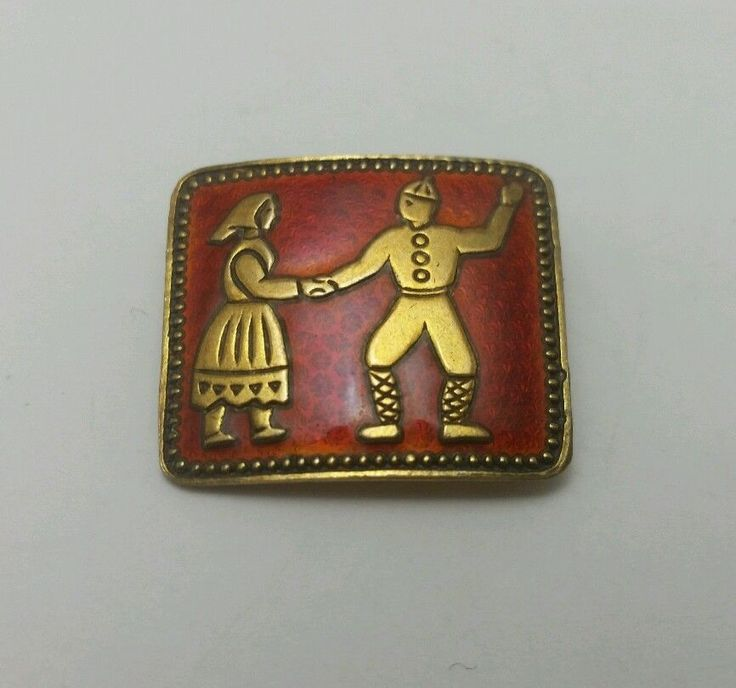 Ivar T. Holt Enamel and Sterling Silver Pin with Gold Wash 925 Norway…