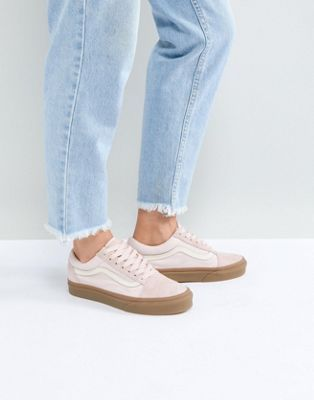 01137f4298b Vans Old Skool Trainers In Pink Fuzzy Suede With Gum Sole