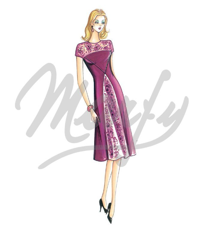 Fabric required about mt 2 20 wide 1 40 Available in sizes 42 46 50 Dress with bodice seams creating a décolleté effect crew-neck and drop-shoulder sleeves To be made in two-tone jersey Can be made without long sleeves in crêpe fabric and lace