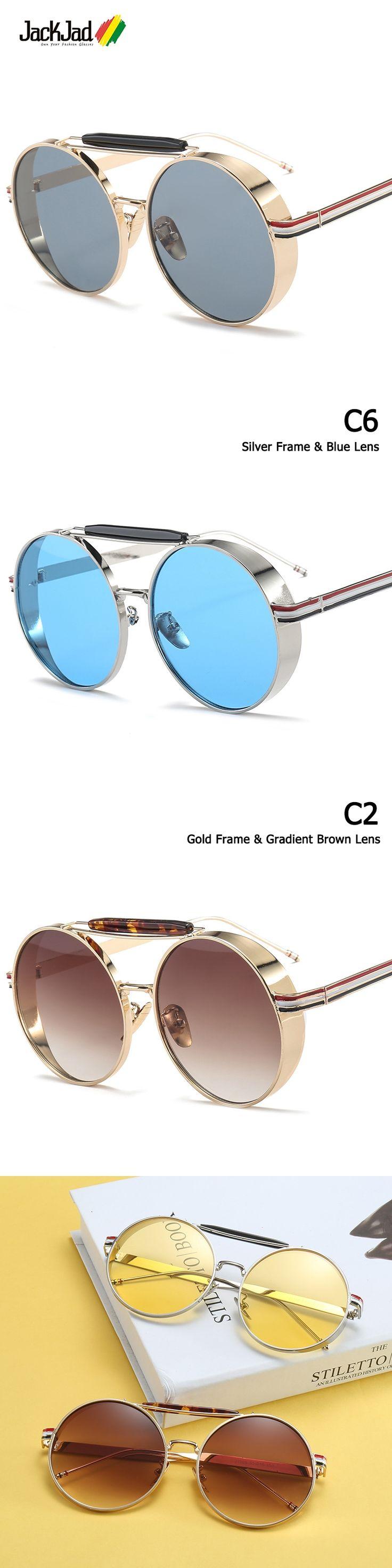 JackJad New Fashion Thick Side Metal Frame Round Style Sunglasses Vintage Classic Brand Design Sun Glasses Oculos De Sol S105
