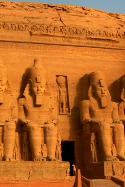 ABU SIMBEL TEMPLES, Egypt: were carved out of a mountainside during the reign of Pharaoh Ramesses II in the 13th century BC, as a monument to him following tragedy at the Battle of Kadesh. The complex was relocated in its entirety in 1968 to an artificial hill made from a domed structure, high above the Aswan High Dam reservoir which would otherwise have submerged the temples.