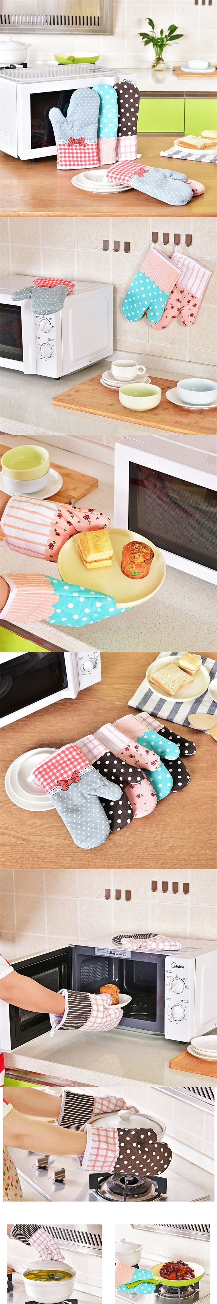 1PCS Cute Home Kitchen High Temperature Heat Resistant Cooking Accessory Microwave Oven Insulated Non-slip Thick Household Glove