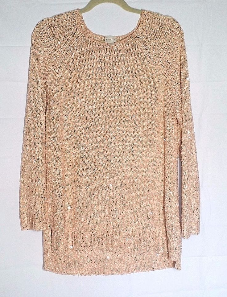 Chico's Tunic Sweater Size 2 Peach Blush Sequined Shiny Metallic Women's Top #Chicos #Tunic