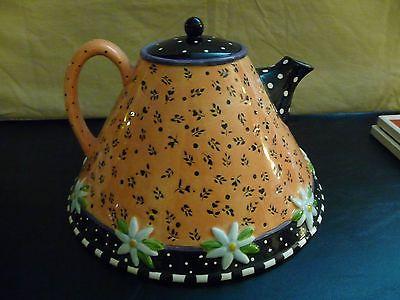 Very cute! - Mary-Engelbreit-Teapot-Tea-Pot-Full-Size-Peach-Orange-Black-Charpente-1997