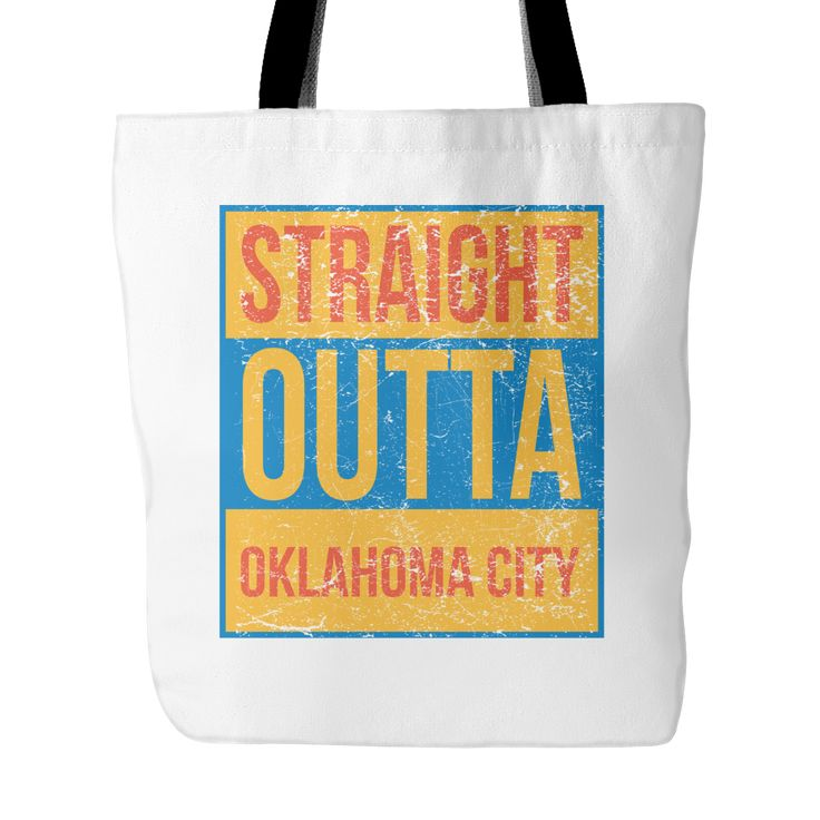 Straight Outta Oklahoma City Basketball Tote Bag, 18 in x 18 in
