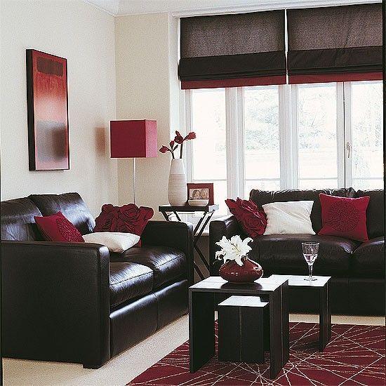 17 mejores ideas sobre sof de color chocolate marr n en for Sala de estar rojo y blanco