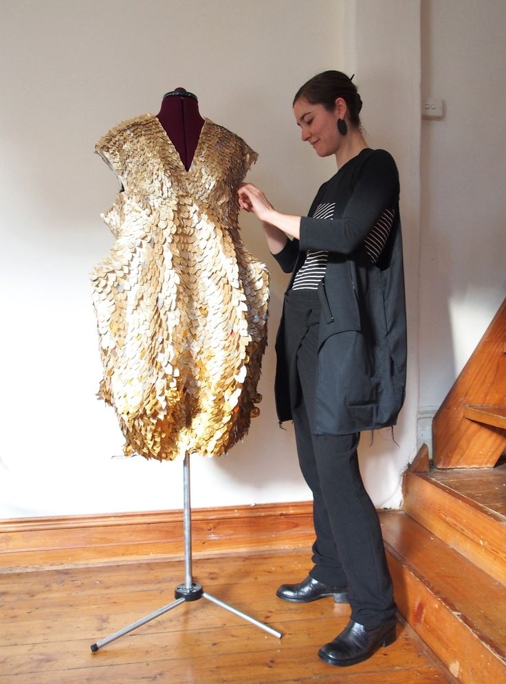 """The finished Dress, called """"Padma Petalz"""" Using over 2,000 hand-cut Nespresso capsules- totalling over 6,000 petals! www.mucke.com.au"""
