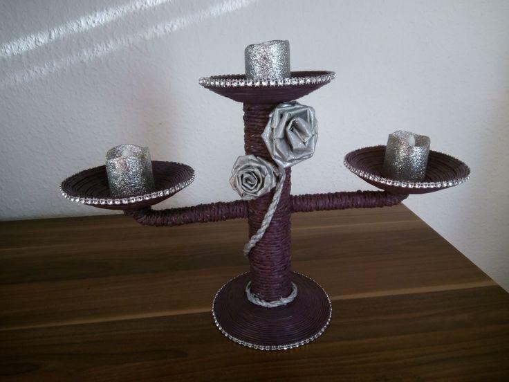 Kerzenständer aus Papierschnur