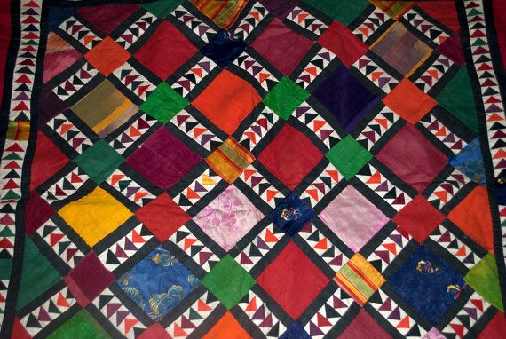 """Tribal Antique Pieced Cotton, Velvet, and Silk Patchwork Wall Hanging 42"""" x 47"""" - Beautiful, colorful first half of the 20th century hand pieced tribal textile from Afghanistan."""