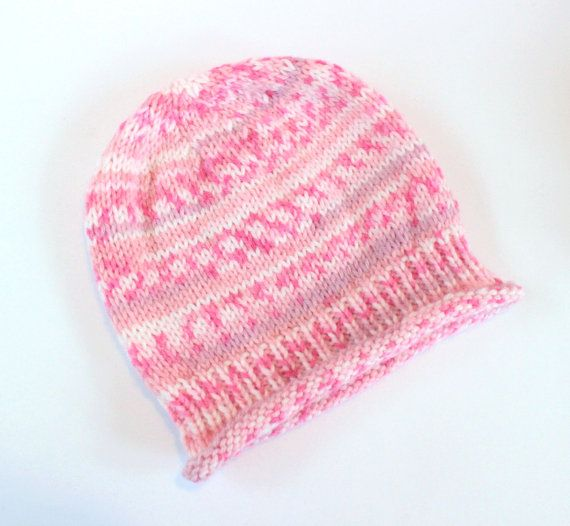 Pink Baby Hat Fairisle Baby HatColourful Baby by Pinknitting