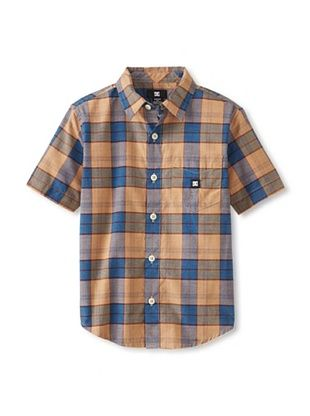 71% OFF DC Boy's 2-7 DC Boy's Dharma Short Sleeve Button-Up (Khaki Plaid)