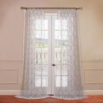 "Willa Arlo Interiors Holland Geometric Sheer Rod Pocket Single Curtain Panel Size: 50"" W x 84"" L, Color: Silver"