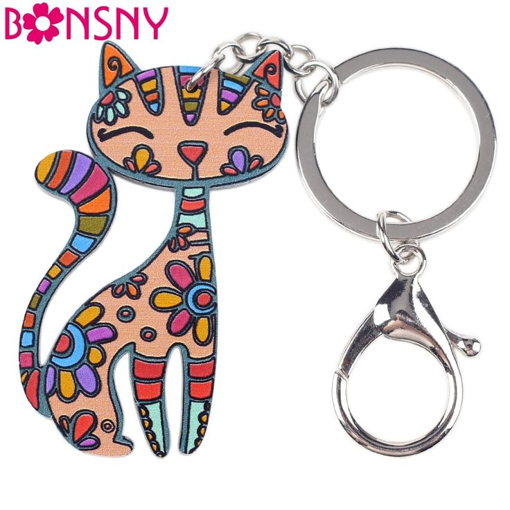Newei Cat Keychain New 2016 Acrylic Pattern Charm Cute Animal Fashion Jewelry For Women  Accessories