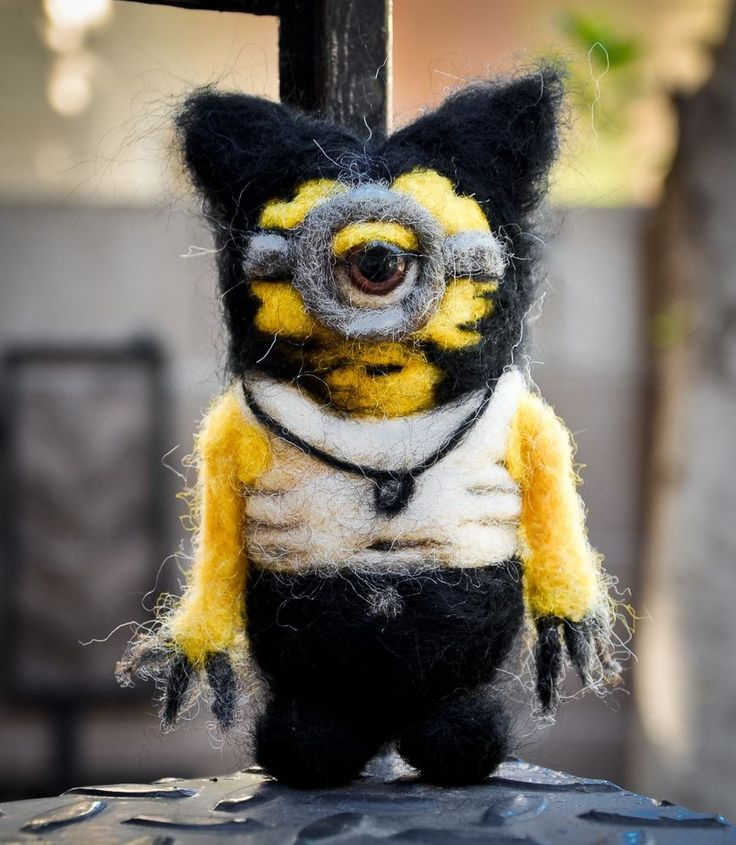 Needle Felted Felting Wolverine Comic Minion Doll Wool Miniature Art
