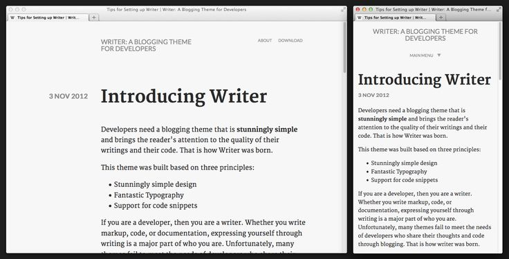Demonstrates the look of a Writer blog post, at different sizes