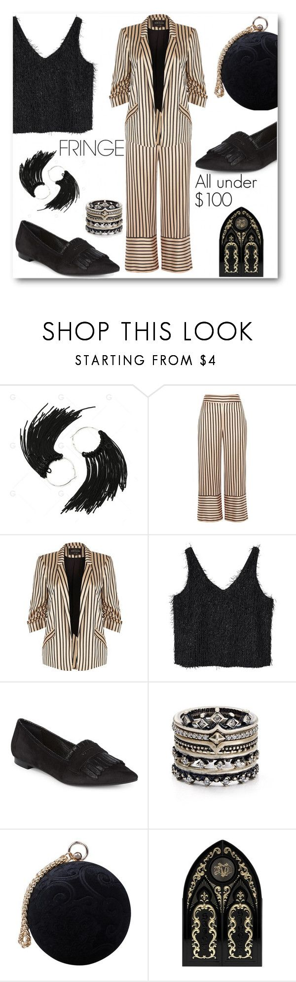 """""""Fringe Framework"""" by looking-for-a-place-to-happen ❤ liked on Polyvore featuring River Island, MANGO, Saks Fifth Avenue, Kendra Scott, Carvela and Kat Von D"""
