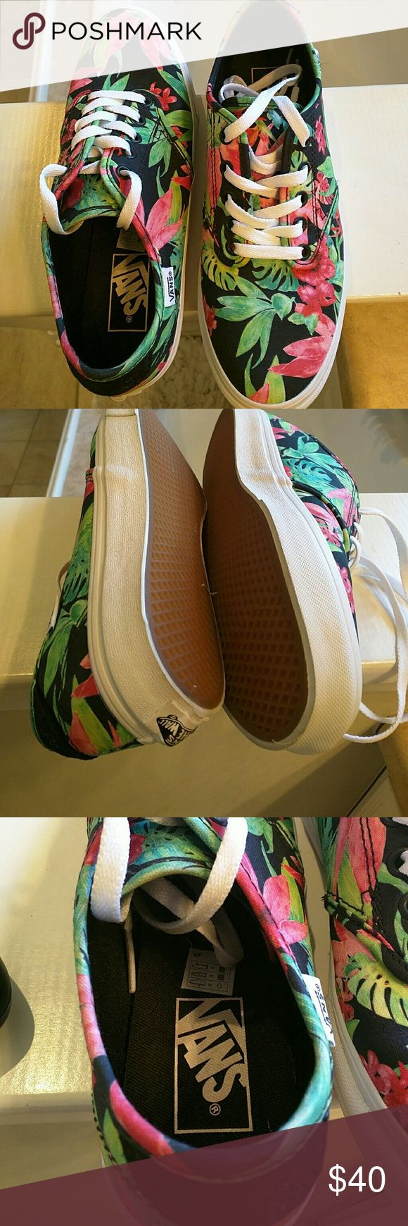 VANS tennis shoes VANS flower tennis shoes VANS Shoes Athletic Shoes