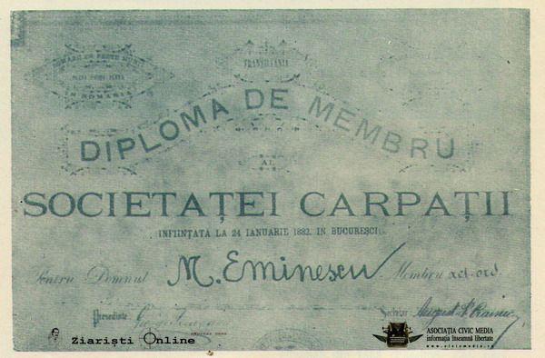 Mihai Eminescu - Diploma de membru fondator al Societatii Carpatii, infiintata la 24 ianuarie 1882