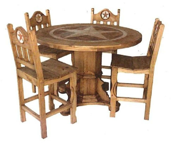 round rustic dining room set with star marble inlay pub height real wood