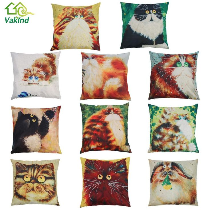 Cushion Cover 11 Styles Creative Color Cartoon Cat Pattern Pillow Case Linen  Cotton Pillow Cover Bedroom Home Throw Cover
