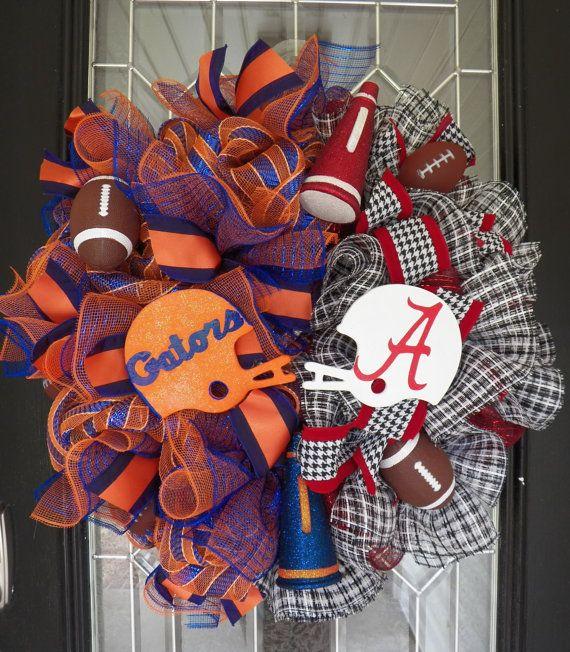 House Divided Football Wreath, SEC Football, Door Hanger, Football Party, Alabama Crimson Tide, Florida Gators, Wreath for Door, Pre-Order