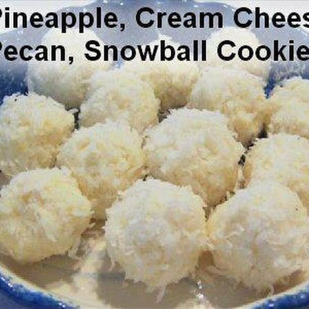 """NO BAKE - Pineapple, Cream Cheese & Pecan Snowballs - 1 pkg (8z) softened cream cheese, 1 can (8oz) drained crushed pineapple,1 C chopped pecans,   3 C flaked coconut:  Mix cream cheese & pineapple then fold in pecans. Cover & chill 1 hr. Roll into 1"""" balls; then roll the balls in the coconut. Chill 4 hrs or overnight."""