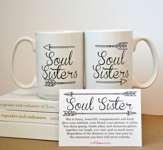 TWO SOUL SISTERS mugs Coffee Mug Set  Best by TheSisterStudio
