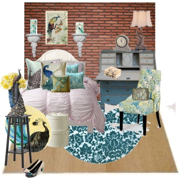 """""""A Perfect Peacock Bedroom"""" by thriftyvintagechic on Polyvore"""