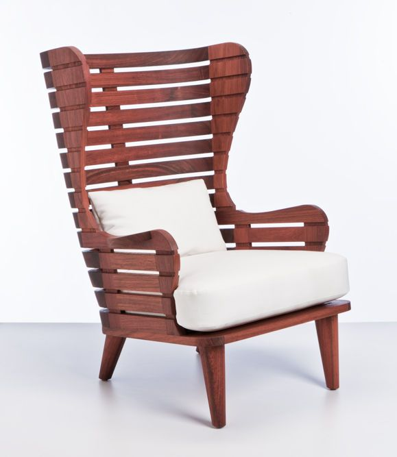 Matt Stoich Linear Wing Chair and Ottoman Indoor Outdoor