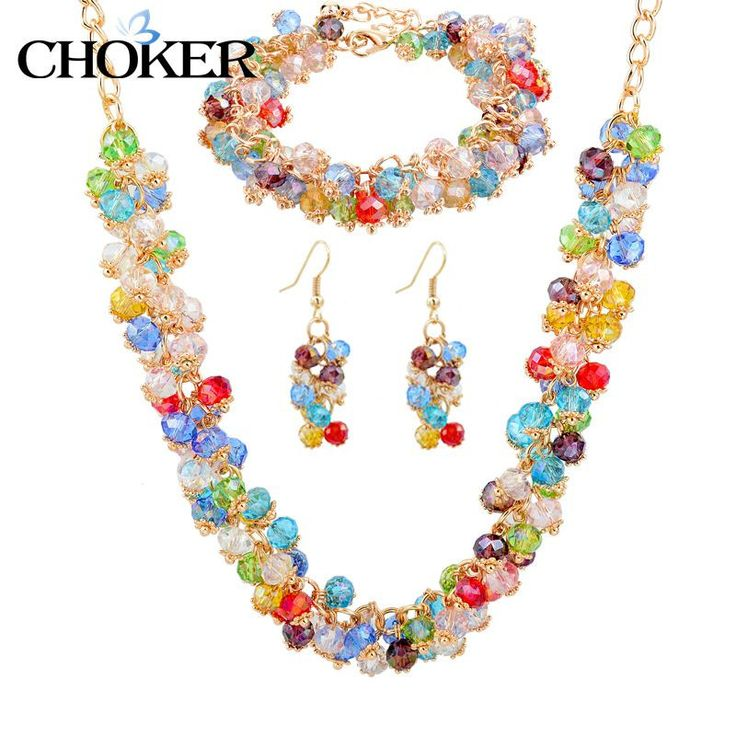 CHOKER Nigerian Wedding African Beads Jewelry Set Crystal Bridal Imitation diamond Bracelets Gold Earring Necklaces For Women