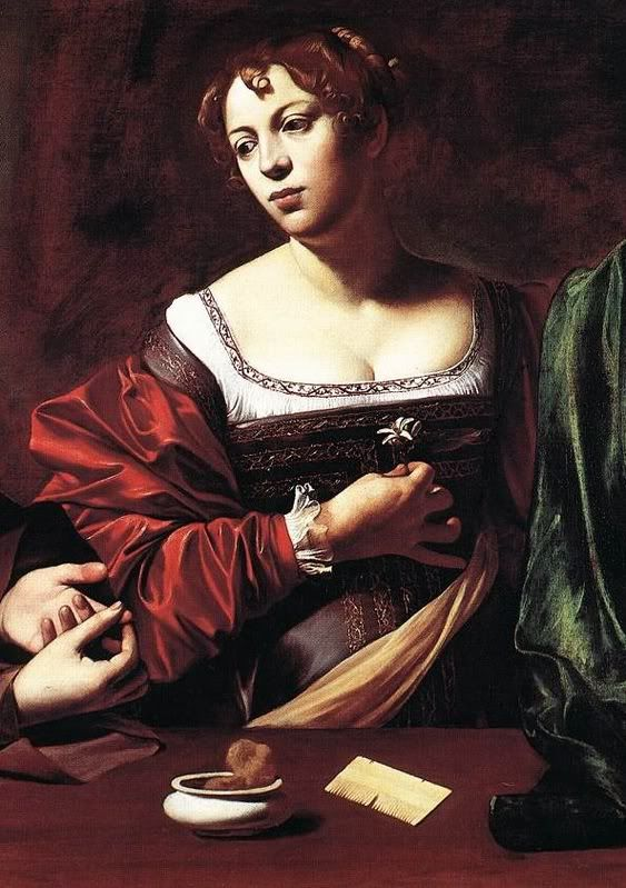 """""""Martha and Mary Magdalene"""" c. 1598 detail, Oil and tempera on canvas, by Michelangelo Merisi da Caravaggio (Italian, 1571–1610).Detroit Institute of Arts. Gift of the Kresge Foundation and Mrs. Edsel"""
