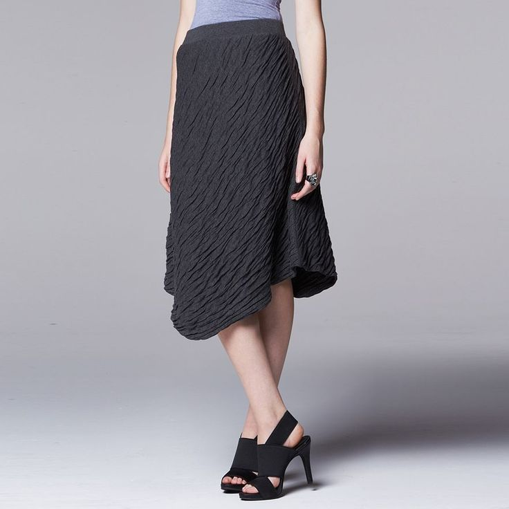 NWT Women's SIMPLY VERA VERA WANG Knit Asymmetrical Wave Gray Skirt Size XL 16 #SimplyVeraVeraWang #Asymmetrical