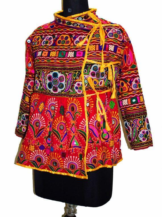 Kuchi Special Mirror work Jacket Antique Vinagte Banjara Rabari Gypsy Tribal Rajasthan Hand Embroiderd Pink Women Jacket