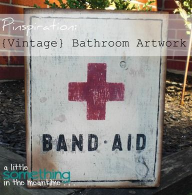 A Little Something in the Meantime: {Vintage} Inspired Bathroom Art #DIY