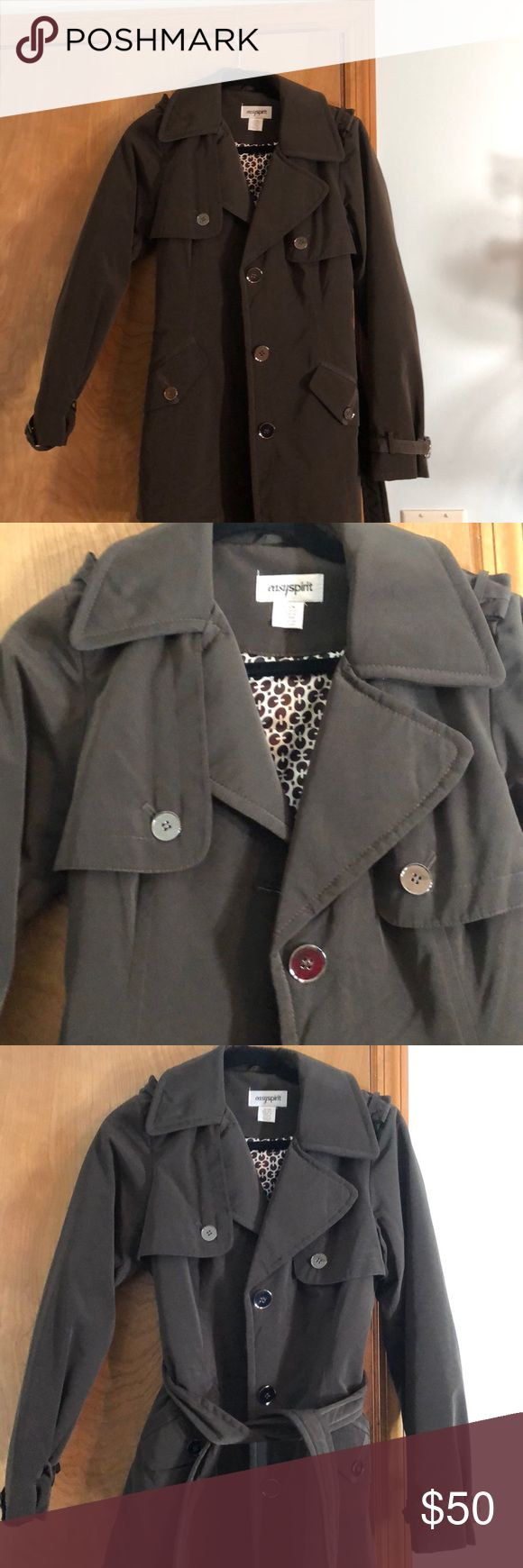 New easy spirit coat Never worn!! Dark chocolate rain coat Easy Spirit Jackets & Coats