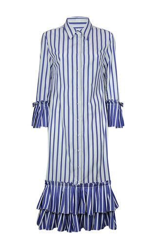 Rendered in cotton, this **Dondup** dress features a flounced midi length hemline and a collar detail.