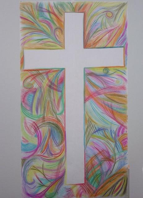 Hands Cross Beginnings - chalk pastels on butcher paper, add congregation's hands Valkoinen kapea paperi, ristimuotti ja puuvärit. Todella kaunis!