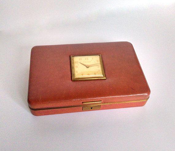Vintage Jewelry Box, Keepsake Box, New Haven Clock in Lid, Farrington Jewelry Storage, Stash Box, Texol, Clock Not Working, Stash Container