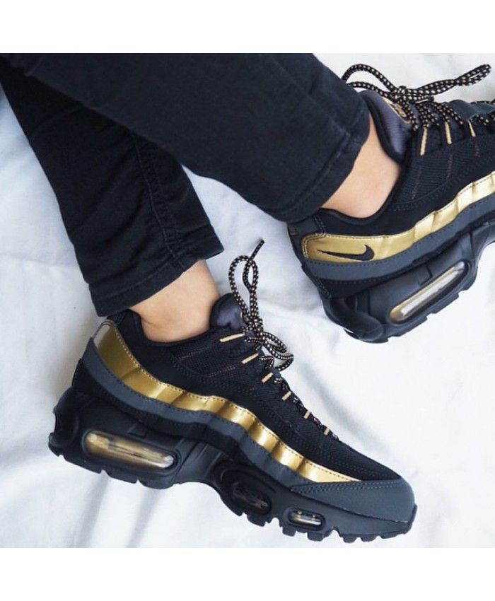 online store 6df31 127cb Nike Air Max 95 Black Gold Trainers Clearance | Shoes in 2019 | Nike ...