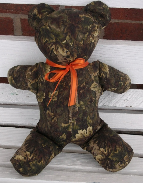 Camoflauge Bear with Orange Ribbon for Boys or by vickischatterbox. $15.00, via Etsy.
