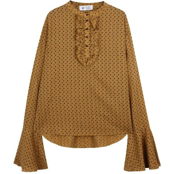 The Bee's Sneeze - Light Brown Wool Ruffle Smock Shirt ($217) ❤ liked on Polyvore featuring tops, blouses, ruffle sleeve blouse, mandarin collar shirt, cut loose shirt, flutter sleeve top and sleeve shirt