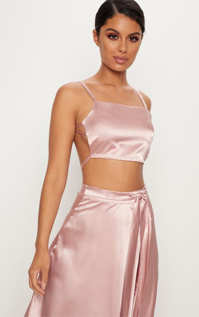 Rose Gold Satin Backless Strappy Crop Top 1