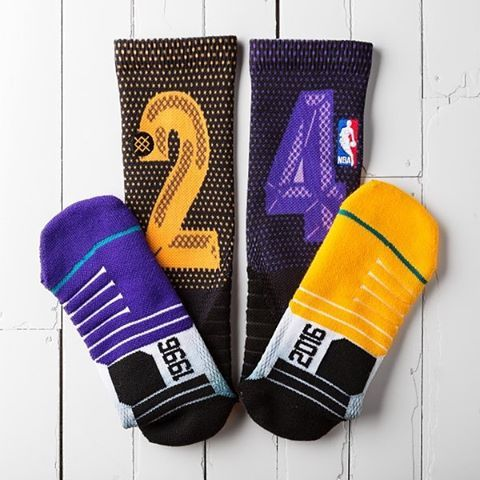 The @Lakers will be wearing these socks today to pay homage to Kobe Bryant. #KB20 via @stancehoops ___________________ #kobe #kobebryant #lakers #lakersnation #losangeleslakers #blackmamba #nba