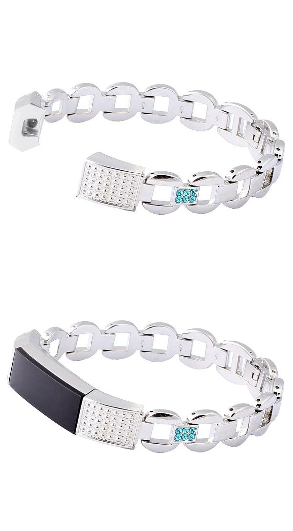 BAYITE REPLACEMENT METAL BANDS FOR FITBIT ALTA SILVER WITH BLUE
